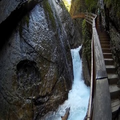 Wimmbahklamm Waterfall in Berchtesgaden National Park Bavaria Germany Europe Stock Footage