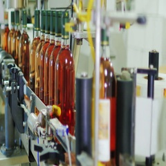 Automated conveyor line in inodelne. Place labels on bottles of wine. Industrial Stock Footage