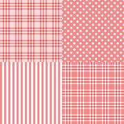 Vector set of 4 pink patterns striped, plaid, spotted Stock Illustration