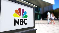 Street signage board with National Broadcasting Company NBC logo. Blurred office Piirros