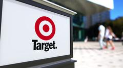 Street signage board with Target Corporation logo. Blurred office center and Stock Illustration