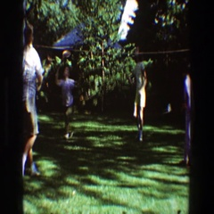 1968: children out playing in the backyard. TOLEDO OHIO Stock Footage