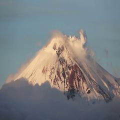Kamchatka: top of cone of active Avacha volcano, fumarolic activity of volcano Stock Footage