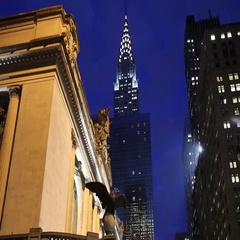 Grand Central Terminal and Chrysler Building Evening Stock Footage
