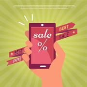 Sale in Electronics Store Flat Vector Banner Stock Illustration