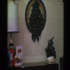 1968: buffet table decoration for christmas with close up view of a wreath Stock Footage