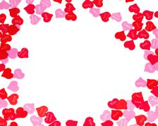 Border of colorful Valentines Day paper hearts Stock Photos