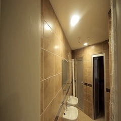 Toilets view from outside Stock Footage