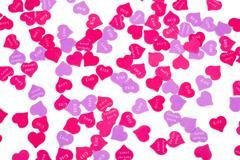 Valentines Day confetti on white background Stock Photos