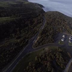 Aerial of coastline, sea and Great Ocean Road in Australia Stock Footage