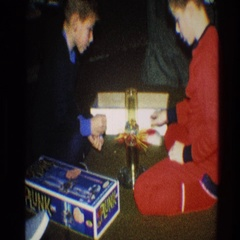1968: children playing with a new toy. TOLEDO OHIO Stock Footage