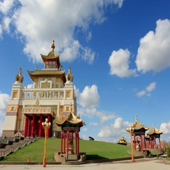 4k. Clouds over the Buddhist temple. Golden Abode of Buddha Shakyamuni in Elista Stock Footage