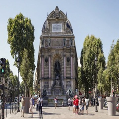 Place Saint Michel Fountain one most beautiful of Paris. Time-lapse sequence Stock Footage