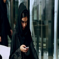 Arab businesswoman texting on mobile. Stock Footage