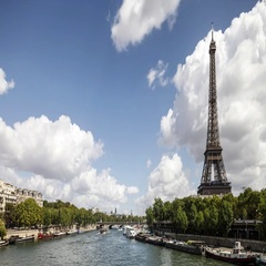 Eiffel Tower Silhouette View from the river Seine in Paris. Time-lapse sequence Stock Footage