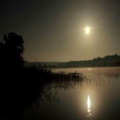 4K. Starry night on the river Seversky Donets, Rostov Region, Russia, Ultra HD,  Stock Footage