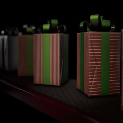 A row of wrapped gift boxes in a shiny red wrapping paper and green ribbon movin Stock Footage