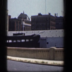 1961: driving on a highway through an industrial area. BALTIMORE MARYLAND Stock Footage