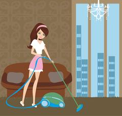 Girl with wireless vacuum cleaner Stock Illustration