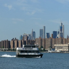 New York City Ferry on East River, Manhattan Waterfront Stock Footage