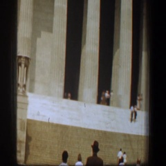 1961: a group of people walking up a set of stairs outside WASHINGTON DC Stock Footage