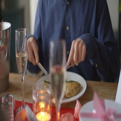 Slow Motion Shot Of Couple Enjoying Valentines Day Meal Stock Footage
