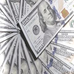 Rotating 100 Dollar Bills Background. Fog Flare Stock Footage
