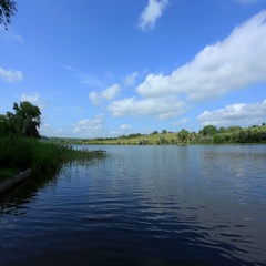 4K. Movement of clouds on the river Seversky Donets, Rostov Region, Russia Stock Footage