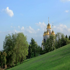 "4K. Clouds over the orthodox temple of ""All Saints Church"" in Volgograd, Russia, Stock Footage"