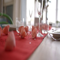 Slow Motion Shot Of Table Setting For Valentines Day Meal Stock Footage