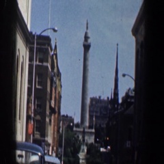 1961: in the city, we see a statue in the distance. WASHINGTON DC Stock Footage