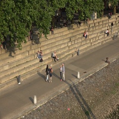 4k Close up people relaxing at sunny river Weser promenade Bremen Schlachte Stock Footage