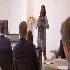 Businesswoman Making Presentation At Conference Shot On R3D Stock Footage