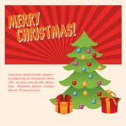Pine tree and gifts of Christmas season design Stock Illustration