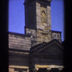 1964: interesting building with a steeple on top made of brick SAINT LOUIS Arkistovideo