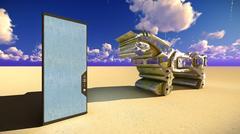 Trojan horse and computer 3d illustration Stock Illustration