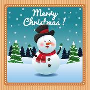 Snowman cartoon of Christmas season design Stock Illustration