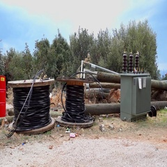 Electric pole replacement site Stock Footage
