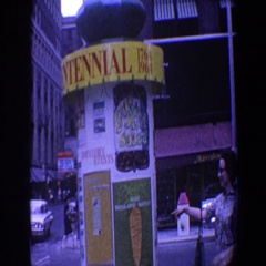 1964: busy city street full of random items and people walking around  Stock Footage