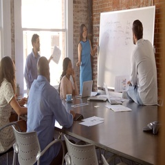 Businesswoman At Whiteboard In Office Giving Presentation Stock Footage