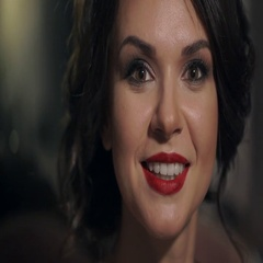 Portrait of amazing beautiful girl with red lips close-up. Happy woman smiling Stock Footage