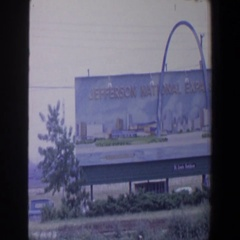 1964: huge memorial sign in the field, standing tall. SAINT LOUIS MISSOURI Stock Footage