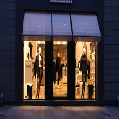 Dresden Germany shopping - mannequins behind glass frontage of fashion shop Stock Footage