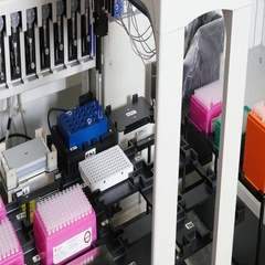 Pipetting robot in a gene lab Stock Footage