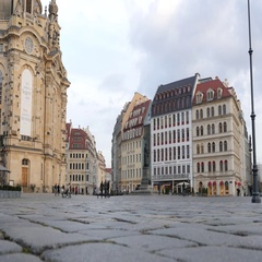 Dresden Germany beautiful building architecture of historical city center square Stock Footage