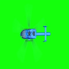 Blue helicopter animation. Realistic reflections, shadows and motion. Green scre Stock Footage