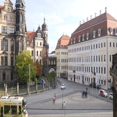 Dresden Germany beautiful building architecture and city center tram traffic Stock Footage