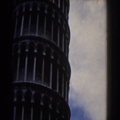 1959: a view of a huge well but circular building or a tower, PISA Stock Footage