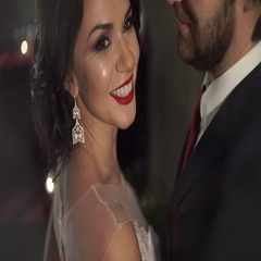 Amazing beautiful woman with red lips smiling broadly, as her husband hugs her Stock Footage