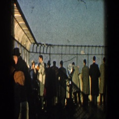 1960: viewing of a very large boat and it's people on board. NEW YORK CITY Stock Footage